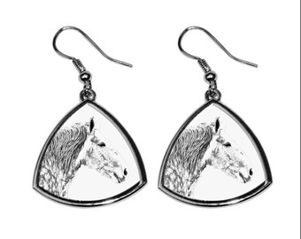 Percheron, collection of earrings with images of purebred horses, unique gift. Collection!