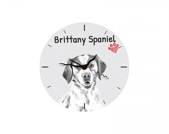 Brittanyspaniel, Free standing MDF floor clock with an image of a dog.