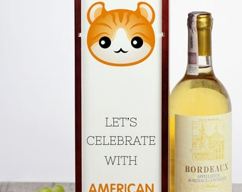 Let's celebrate with American Curl cat. A wine box with the cute Art-Dog cat