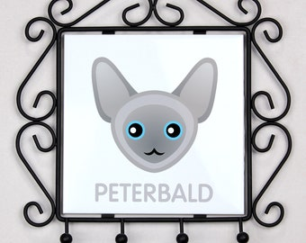 A key rack, hangers with Peterbald cat. A new collection with the cute Art-dog cat