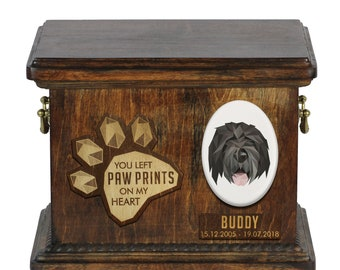 Urn for dog ashes with ceramic plate and sentence - Geometric Black Russian Terrier, ART-DOG. Cremation box, Custom urn.