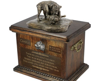 American Pit Bull Terrier - Exclusive Urn for dog ashes with a statue, relief and inscription. ART-DOG. Cremation box, Custom urn.