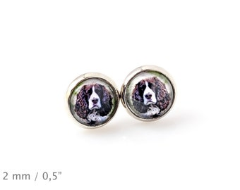 English Springer Spaniel. Pet in your ear. Earrings. Photojewelry. Handmade.