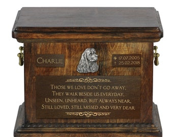 Urn for dog's ashes with relief and sentence with your dog name and date - American Cocker Spaniel, ART-DOG. Cremation box, Custom urn.