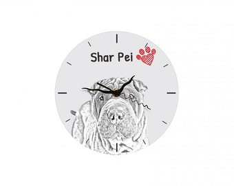 Shar Pei, Free standing MDF floor clock with an image of a dog.