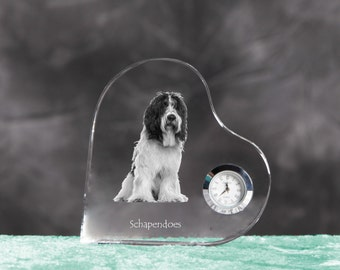 Schapendoes - crystal clock in the shape of a heart with the image of a pure-bred dog.