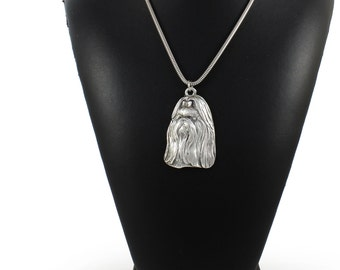 NEW, Shih-Tzu longhaired (with ribbon), dog necklace, silver cord 925, limited edition, ArtDog