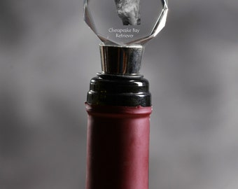 Chesapeake Bay retriever , Crystal Wine Stopper with Dog, Wine and Dog Lovers, High Quality, Exceptional Gift