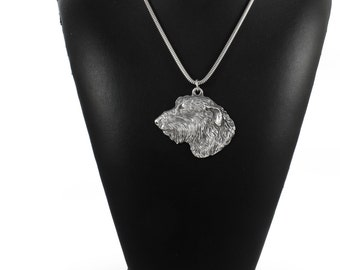 NEW, Irish Wolfhound, dog necklace, silver chain 925, limited edition, ArtDog