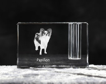 Papillon, crystal pen holder with dog, souvenir, decoration, limited edition, Collection