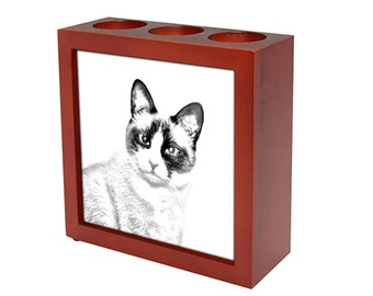 Snowshoe cat - Wooden stand for candles/pens with the image of a cat ! NEW COLLECTION!