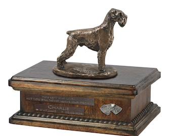 Exclusive Urn for dog ashes with a Schnauzer uncropped statue, relief and inscription. ART-DOG. New model. Cremation box, Custom urn.