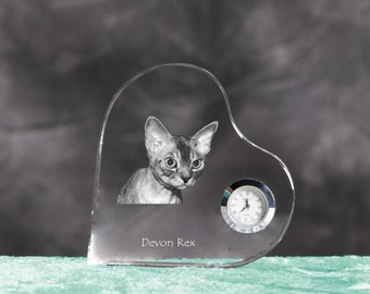 Devon rex- crystal clock in the shape of a heart with the image of a pure-bred cat.