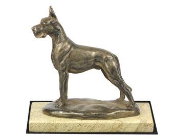 Great Dane, dog sand marble base statue, limited edition, ArtDog. Made of cold cast bronze. Perfect gift. Limited edition