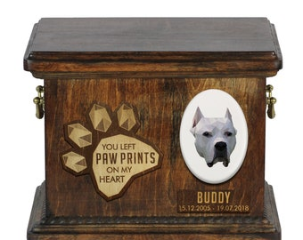 Urn for dog ashes with ceramic plate and sentence - Geometric Argentine Dogo, ART-DOG. Cremation box, Custom urn.