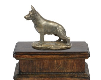 Exclusive Urn for dog's ashes with a German Shepherd statue, ART-DOG. New model Cremation box, Custom urn.