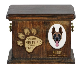 Urn for dog ashes with ceramic plate and sentence - Geometric Malinois, ART-DOG. Cremation box, Custom urn.