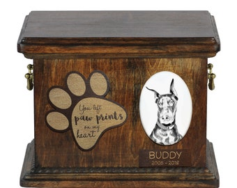 Urn for dog's ashes with ceramic plate and description - Doberman, ART-DOG Cremation box, Custom urn.