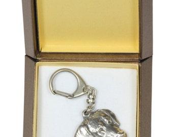 NEW, Rhodesian Ridgeback, African Lion Boy, African Lion Girl, dog keyring, key holder, in casket, limited edition, ArtDog