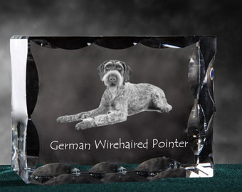 German Wirehaired Pointer, Cubic crystal with dog, souvenir, decoration, limited edition, Collection