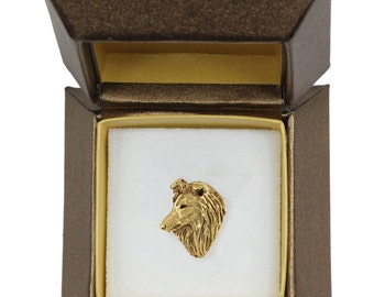NEW, Shetland Sheepdog, Sheltie, dog pin, in casket, gold plated, limited edition, ArtDog