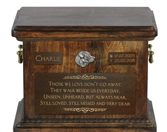 Urn for dog's ashes with relief and sentence with your dog name and date - Labrador Retriever, ART-DOG. Cremation box, Custom urn.