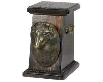 Urn for dog's ashes with a Collie, ART-DOG Cremation box, Custom urn. Cremation box, Custom urn.