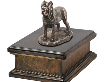 Exclusive Urn for dog's ashes with a Neapolitan Mastiff statue, ART-DOG. New model Cremation box, Custom urn.