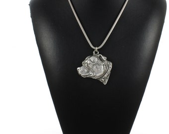 NEW, Staffordshire Bull Terrier, dog necklace, silver cord 925, limited edition, ArtDog