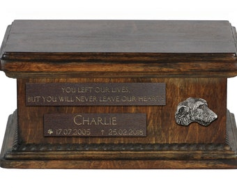 Urn for dog's ashes with relief and sentence with your dog name and date - Irish Wolfhound, ART-DOG. Low model. Cremation box, Custom urn.
