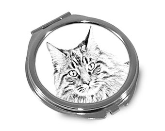 Maine Coon - Pocket mirror with the image of a cat.