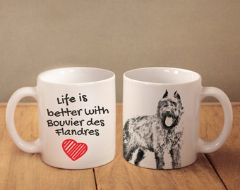"""Flandres Cattle Dog - mug with a dog - heart shape . """"Life is better with..."""". High quality ceramic mug. Dog Lover Gift, Christmas Gift"""