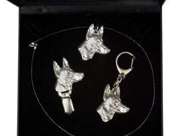 NEW, Pharaoh Hound, dog keyring, necklace and clipring in casket, DELUXE set, limited edition, ArtDog . Dog keyring for dog lovers