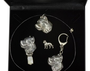 NEW, Cane Corso, dog keyring, necklace, pin and clipring in casket, DELUXE set, limited edition, ArtDog . Dog keyring for dog lovers