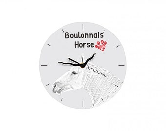 Boulonnais, Free standing MDF floor clock with an image of a horse.