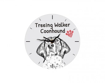 Treeing walker coonhound, Free standing MDF floor clock with an image of a dog.