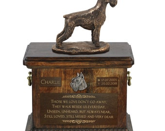 Schnauzer cropped - Exclusive Urn for dog ashes with a statue, relief and inscription. ART-DOG. Cremation box, Custom urn.