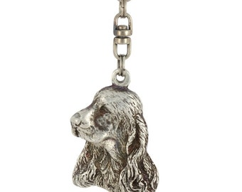 Clumber Spaniel, dog keyring, keychain, limited edition, ArtDog . Dog keyring for dog lovers