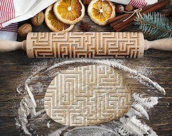 MAZE. Engraved rolling pin for Cookies, Embossing Rollingpin, Laser Engraved Rolling-pin. Decorating Roller