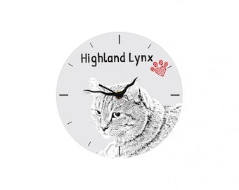 Highland Lynx, Free standing MDF floor clock with an image of a cat.