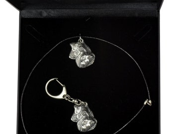 NEW, Schnauzer (uncropped), dog keyring and necklace in casket, DELUXE set, limited edition, ArtDog . Dog keyring for dog lovers