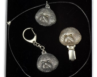 NEW, Bichon, dog keyring, necklace and clipring in casket, ELEGANCE set, limited edition, ArtDog . Dog keyring for dog lovers