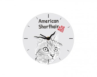 American shorthair, Free standing MDF floor clock with an image of a cat.