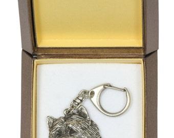NEW, Cairn Terrier, dog keyring, key holder, in casket, limited edition, ArtDog . Dog keyring for dog lovers