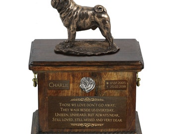 Pug - Exclusive Urn for dog ashes with a statue, relief and inscription. ART-DOG. Cremation box, Custom urn.