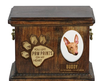Urn for dog ashes with ceramic plate and sentence - Geometric Pharaoh Hound, ART-DOG. Cremation box, Custom urn.