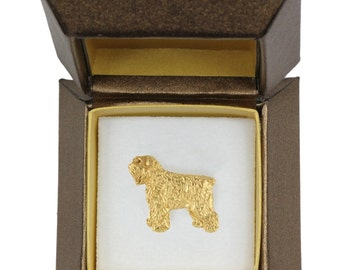 NEW, Flandres Cattle Dog, dog pin, in casket, gold plated, limited edition, ArtDog