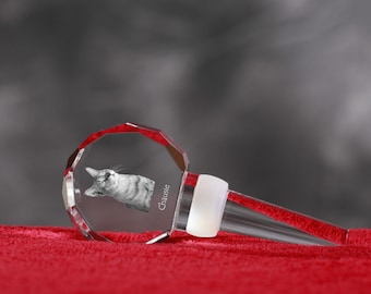 Chausie, Crystal Wine Stopper with cat, Wine and Cat Lovers, High Quality, Exceptional Gift. New Collection