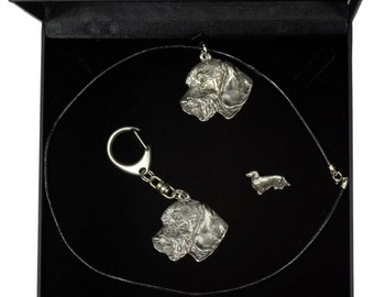 NEW, Teckel Wirehaired, dog keyring, necklace and pin in casket, DELUXE set, limited edition, ArtDog . Dog keyring for dog lovers
