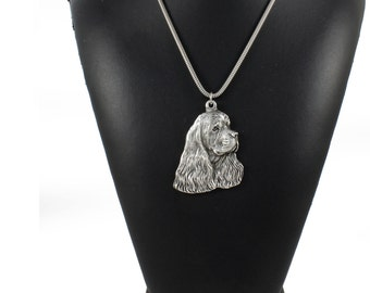 NEW, American Cocer Spaniel, Cocker Spaniel (in USA), Merry Cocker, dog necklace, silver cord 925, limited edition, ArtDog